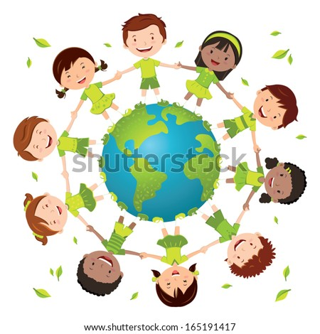 Globe kids for green environment. Earth day. Recycle day! - stock vector