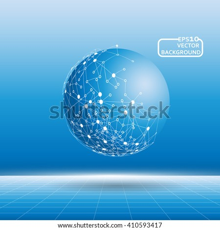 Globe network connection abstract background. - stock vector