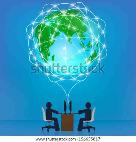 Globe network connection. Template, infographics, business concept - stock vector