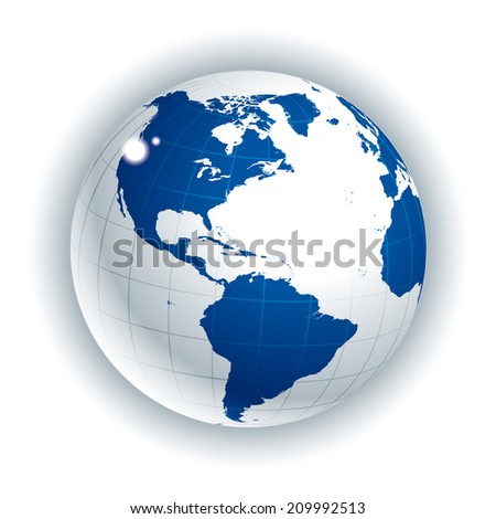 Globe of the World. America Side - stock vector