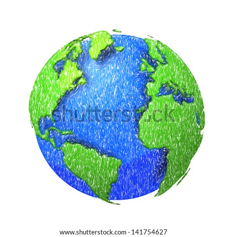 Globe of the world. EPS10 vector illustration,pencil sketch. - stock vector