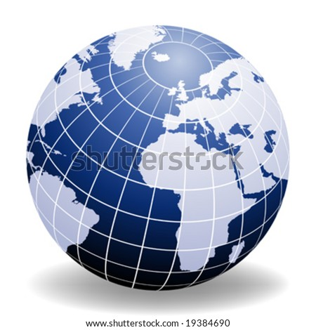 Globe of the World Europe and Africa - stock vector