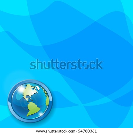 globe on blue - stock vector