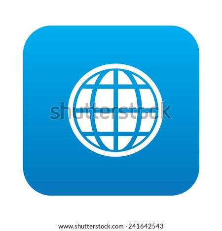 Globe on blue button background,clean vector - stock vector