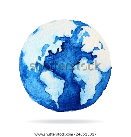 Globe painted with watercolors on paper, Illustration design. - stock vector