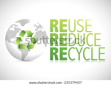 globe reduce, reuse, recycle sign illustration design over a white background - stock vector