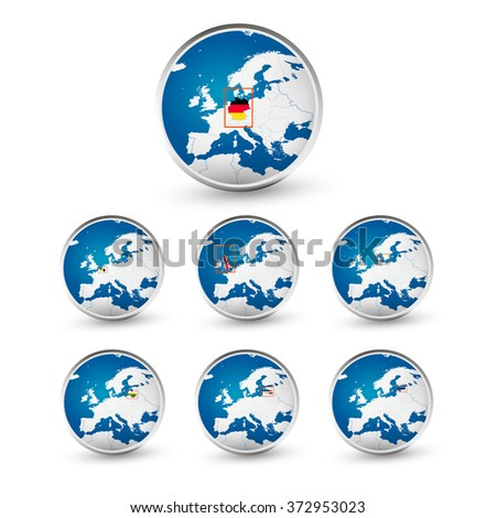 Globe set with EU countries World Map Location Part 2. All elements are separated in editable layers clearly labeled. - stock vector