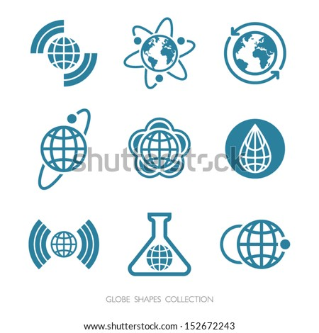 Globe Shapes Collection. Vector icon set. - stock vector