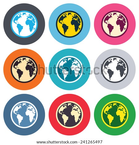 Globe sign icon. World map geography symbol. Colored round buttons. Flat design circle icons set. Vector - stock vector