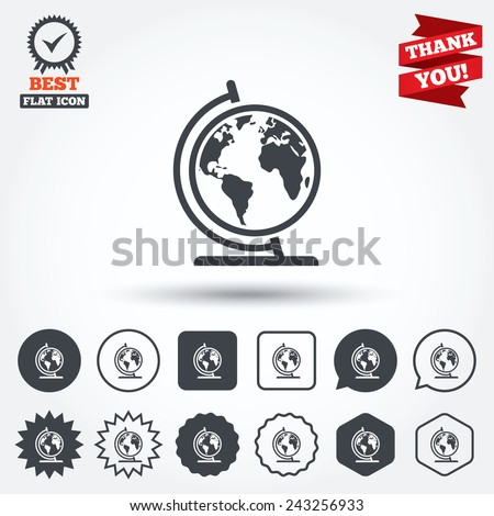 Globe sign icon. World map geography symbol. Globe on stand for studying. Circle, star, speech bubble and square buttons. Award medal with check mark. Thank you ribbon. Vector - stock vector