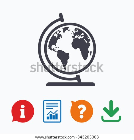 Globe sign icon. World map geography symbol. Globe on stand for studying. Information think bubble, question mark, download and report. - stock vector