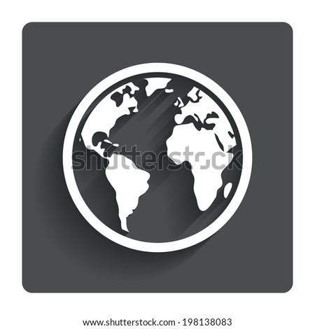 Globe sign icon. World map geography symbol. Gray flat button with shadow. Modern UI website navigation. Vector - stock vector
