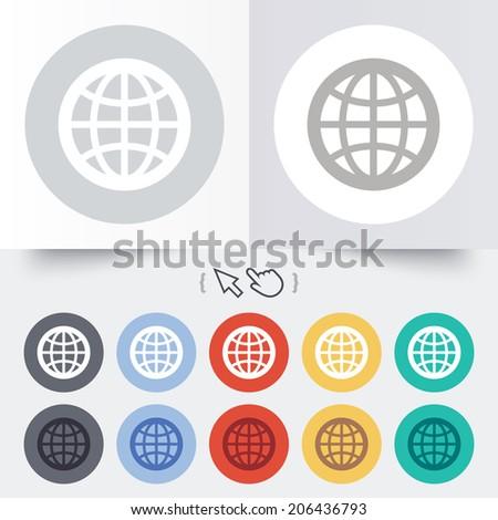 Globe sign icon. World symbol. Round 12 circle buttons. Shadow. Hand cursor pointer. Vector - stock vector