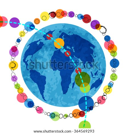 Globe surrounded by  grunge outlines and colorful  circles  - layered for editing  - stock vector