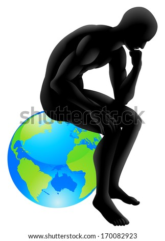 Globe thinker concept, thinker style person sitting on a globe, could be concept for  thinking about the environment or thinking globally  - stock vector
