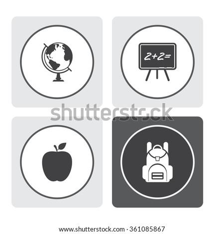 Globe vector icon. Blackboard vector icon. Apple vector icon. School backpack vector icon. - stock vector