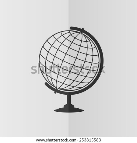 Globe vector icon. Effect of folded paper. Flat design - stock vector