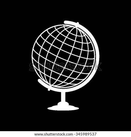 globe vector icon isolated on black - stock vector