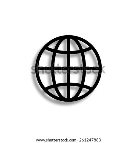 Globe vector icon with shadow - stock vector