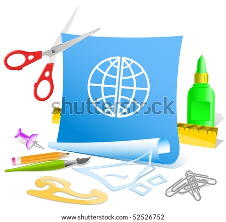 Globe. Vector paper template. - stock vector