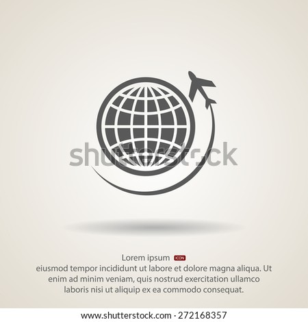 Globe with airplane icon,  vector illustration. Flat design style - stock vector