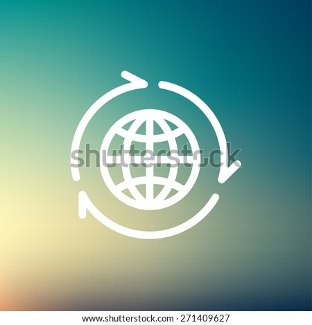 Globe with arrow around icon thin line for web and mobile, modern minimalistic flat design. Vector white icon on gradient mesh background. - stock vector