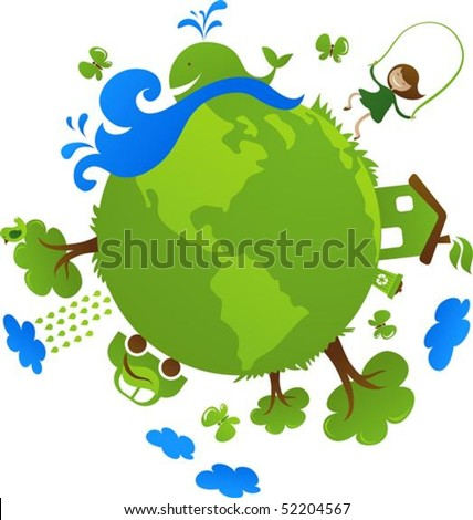 Globe with cute eco icons - stock vector