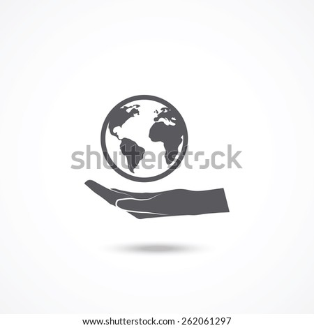 Globe with hand icon  - stock vector
