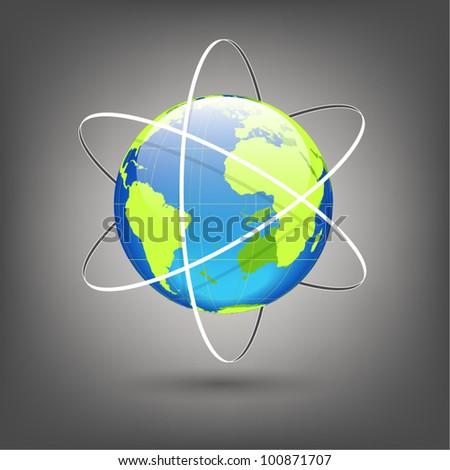 globe with orbits vector - stock vector