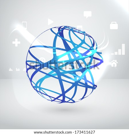 Globe with orbits, vector illustration  - stock vector