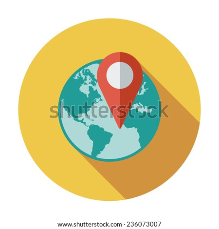 Globe with pin. Single flat color icon. Vector illustration. - stock vector