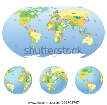 Globe with political world map isolated on white - stock vector