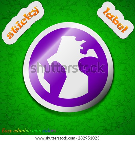 Globe, World map geography  icon sign. Symbol chic colored sticky label on green background. Vector illustration - stock vector