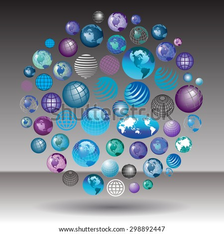 Globes, Globes and more Globes on a gray background - stock vector