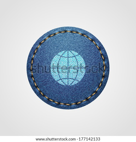 Globes in Realistic Denim Icon Isolated on White Background - stock vector