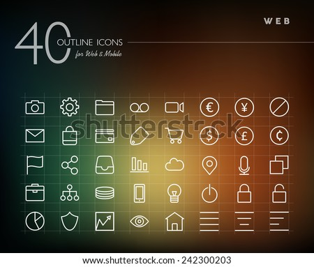 Globlal web line icons set for web and mobile app. EPS10 vector file organized in layers for easy editing. - stock vector