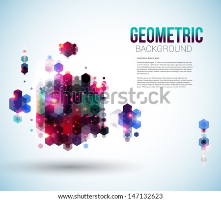 Glossy abstract page layout for Your presentation. Geometric background with hexagons. Vector illustration. - stock vector