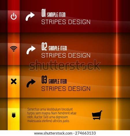 Glossy banners with glowing stripes. Modern vector layout. Red graphic elements. - stock vector