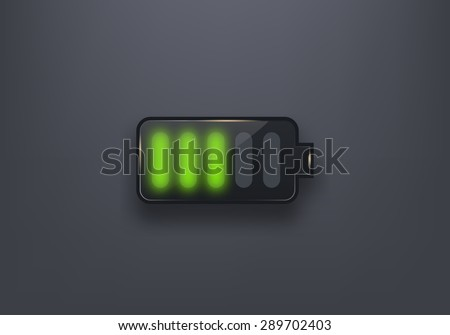 Glossy battery icon. Design element - stock vector