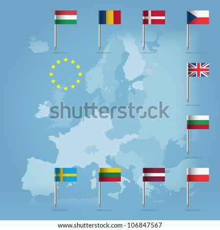 Glossy  beautiful pin flags of Bulgaria, Czech Republic, Poland, Denmark, UK, Lithuania, Latvia, Hungary, Romania and Sweden, hanging in round over light blue world map silhouette - stock vector