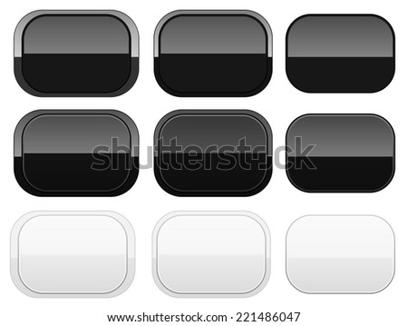Glossy black and white shapes - stock vector