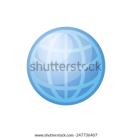 Glossy Blue Globe Icon on White Background. Vector illustration - stock vector