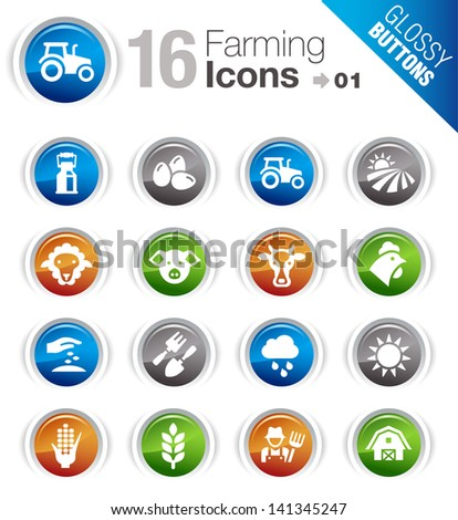 Glossy Buttons - Agriculture and Farming icons - stock vector