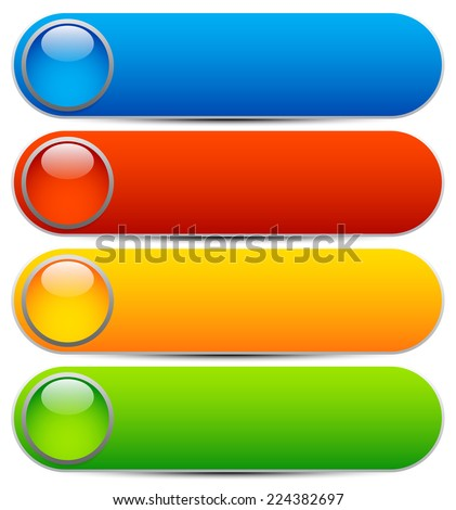Glossy buttons, banners. Rounded rectangle shapes. Colorful vector design elements. Blank buttons. Bright vector template, webdesign element - stock vector