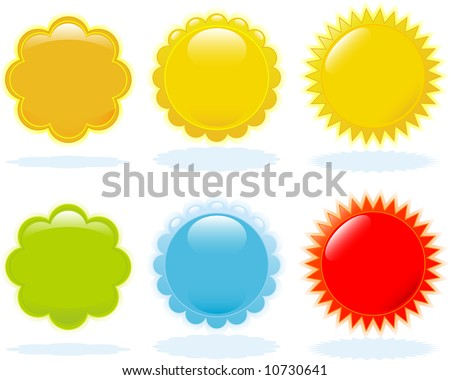 Glossy buttons design elemenents with several color options - stock vector