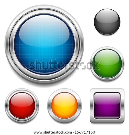 Glossy buttons design elements - stock vector