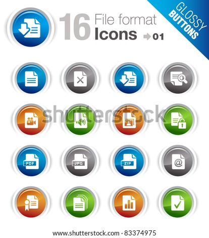 Glossy Buttons - File format icons - stock vector