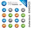 Glossy Buttons - Hotel icons - stock vector