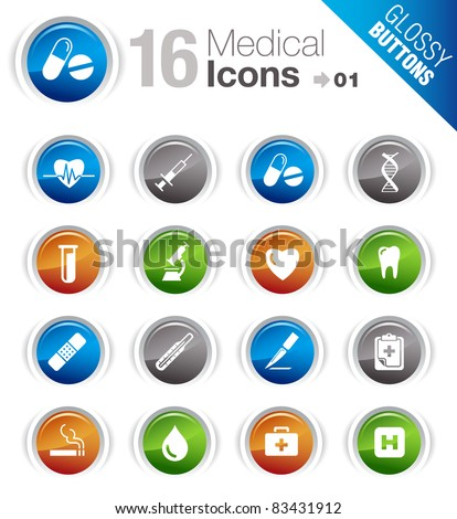 Glossy Buttons - Medical Icons - stock vector