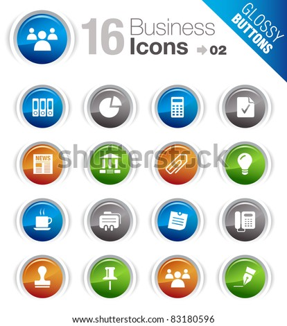 Glossy Buttons - Office and Business icons - stock vector